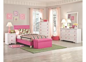 Kith Savannah Full Pink Bed, Dresser, Mirror, Chest and Nightstand