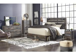 Image for Drystan Queen Panel Bed w/ Storage on both side, Dresser, Mirror, Chest, and Nightstand