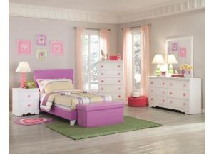 Kith Savannah Full Lavender Bed, Dresser, Mirror, Chest and Nightstand
