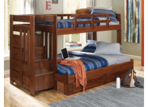 Woodcrest 2600 Rustic Staircase Bunkbed w/o Trundle