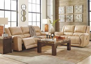 Creamery Leather and Match Power Reclining Sofa