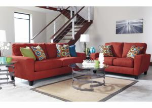 Cabo Red Sofa and Loveseat