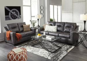 Graphite Genuine Leather and Match Sofa