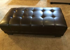 Leather Look Cocktail Ottoman