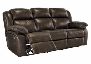 Triple Threat Genuine Leather Power Reclining Sofa