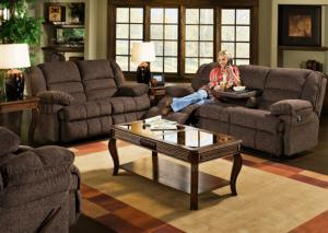 Coach Comfort Reclining Sofa w/Dropdown Table