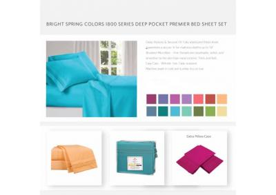 Bright Color 1800 Series Deep Pocket KING Sheets Set