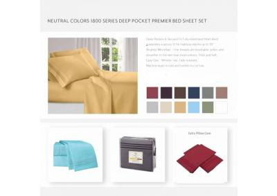 Neutral Colors 1800 Series Deep Pocket KING premier Sheets Set