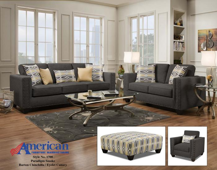 Paradigm Smoke Barto Sofa & Loveseat ,American Furniture