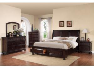 Queen Storage Sleigh Bed, Dresser, Mirror, Chest 1 Night Stand