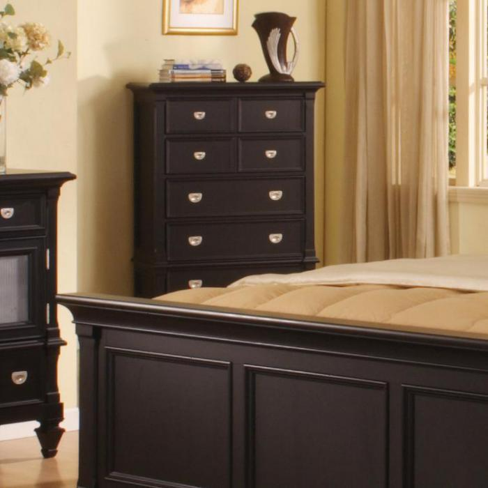 Summer Breeze Black 5 Drawer Chest,Holland House