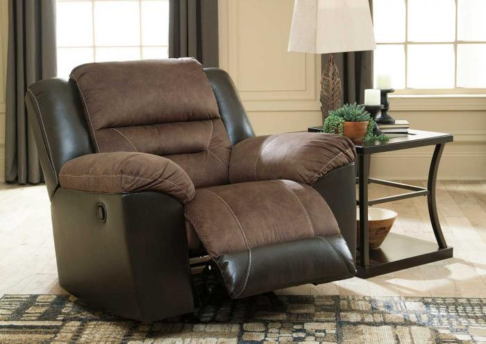Curly S Furniture Earhart Chestnut Rocker Recliner