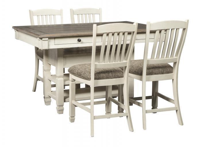 Bolanburg Antique White Rectangular Counter Height Table w/4 Upholstered Barstools,In-Store Product