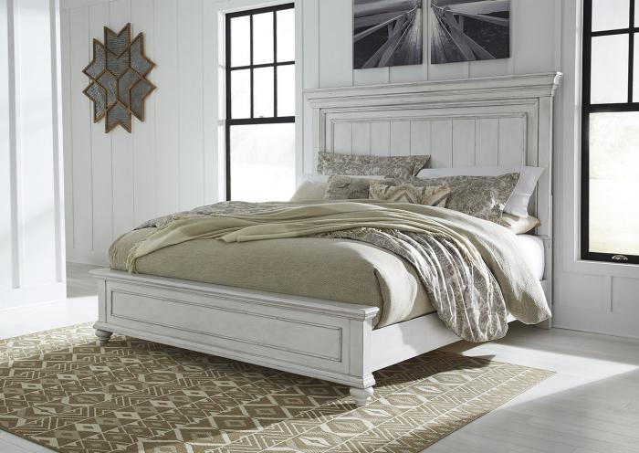 Kanwyn Whitewash California King Panel Bed,In-Store Product