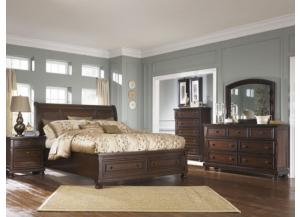 Porter Brown King Sleigh Storage Bed