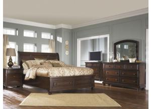 Porter Brown Queen Sleigh Storage Bed