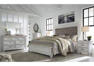 Kanwyn Whitewash King Upholstered Bed w/Dresser & Mirror