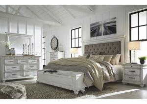 Kanwyn Whitewash King Upholstered Storage Bed w/Dresser & Mirror