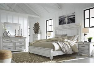 Kanwyn Whitewash King Panel Bed w/Dresser & Mirror