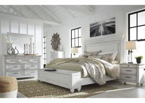 Kanwyn Whitewash King Panel Storage Bed w/Dresser & Mirror