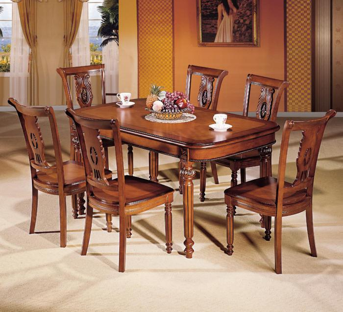 Rectangular Extension Table and 6 Chairs,Furniture Sourcing Inc