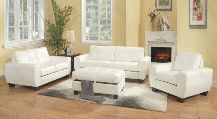 White Sofa & Love Seat ,Glory Furniture Specials