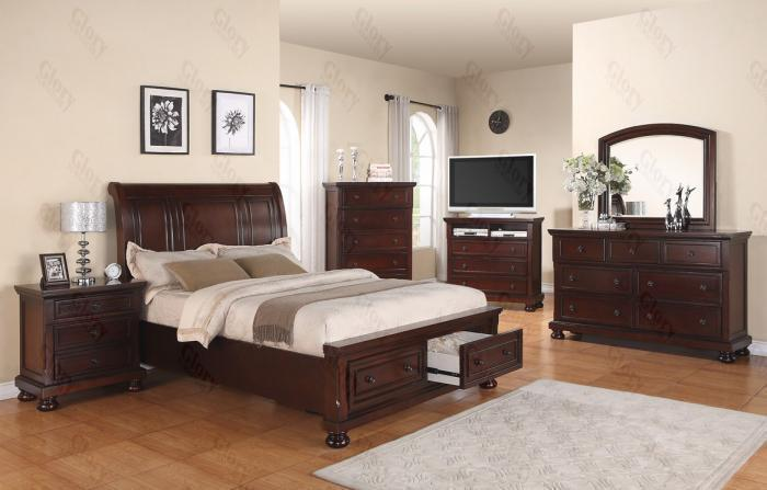 Sleigh Storage Queen Bed,Dresser & Mirror, Chest, 2 Nightstands ,Glory Furniture Specials
