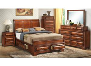 Queen Sleigh Bed, Dresser Mirror, Chest, 2 Nightstands