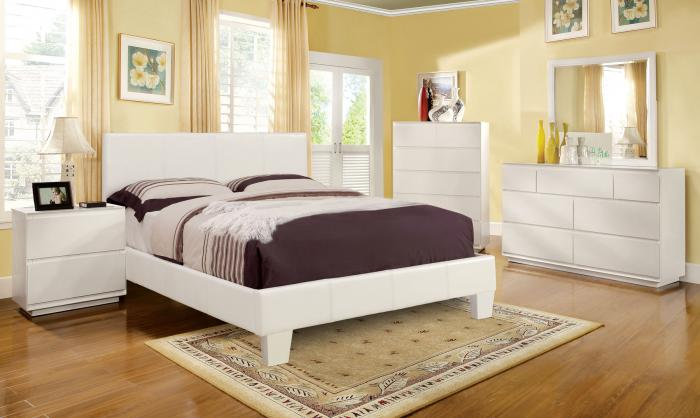 Leatherette Twin White Platform Bed ,Furniture of America