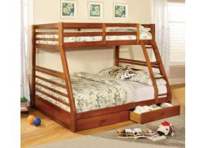Twin Over Full Transitional Solid Wood Bunkbed Oak