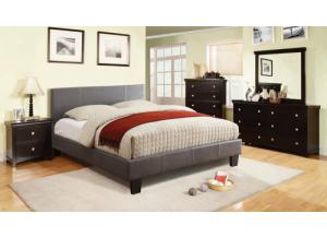 Leatherette Full Gray Platform Bed