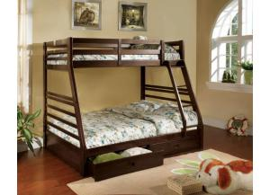 Twin Over Full Transitional Solid Wood Bunkbed Espresso