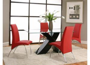 Mensa Black Dining Table & 4 Red Chairs