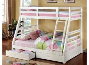 Twin Over Full Transitional Solid Wood Bunkbed White
