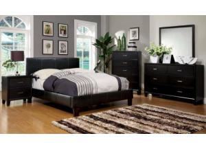 Leatherette Queen Espresso Platform Bed