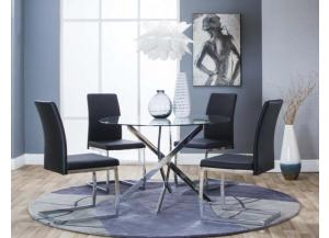 Bravo Dining Table & 4 Black Chairs