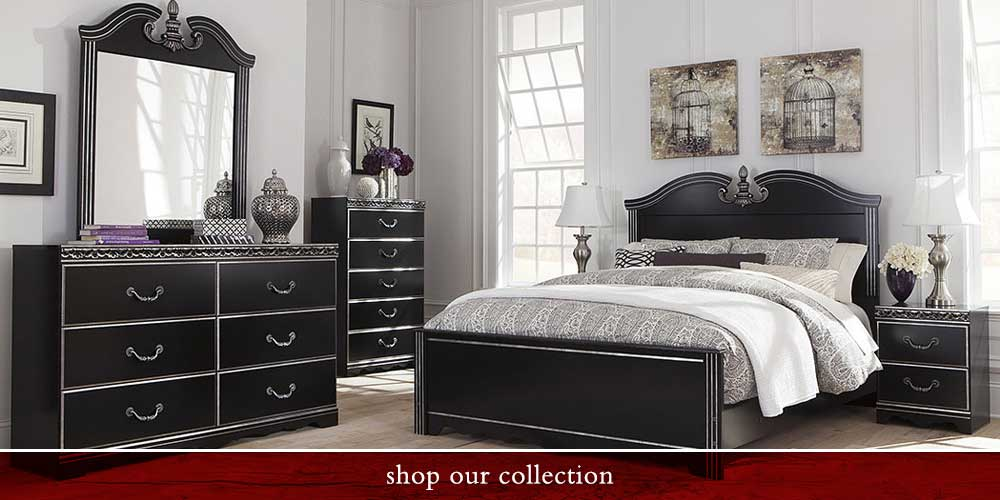 Navoni Black Queen Panel Bed, w/ Dresser and Mirror