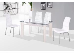 5PC:WHITE TABLE/4 CHAIRS