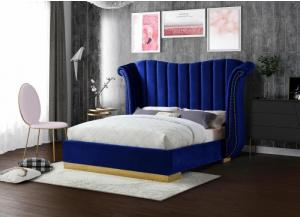 Navy Flora Velvet Queen Bed