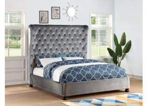 Grey Velvet King Bed