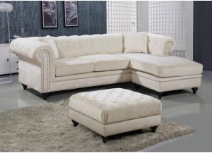 Sabrina Cream Velvet Reversible Sectional