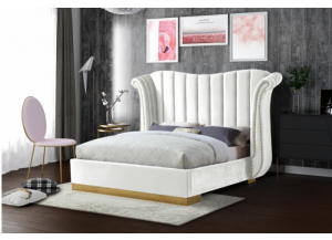 White Flora Velvet Queen Bed