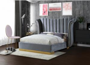 Gray Flora Velvet Queen Bed