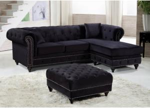 Sabrina Black Velvet Reversible Sectional