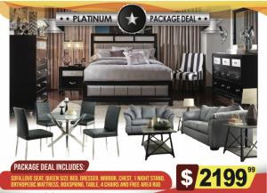 Platinum Package Deal- Sofa, Love Seat, Queen Size Bed, Dresser, Mirror, Chest, 1 Nightstand, Orthopedic Mattress, Boxspring, Dining Table, 4 Chairs,
