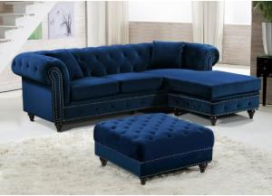 Sabrina Navy Velvet Reversible Sectional