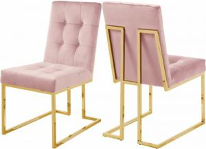 Image for Pierre Pink Velvet Dining Chair (Set of 2)