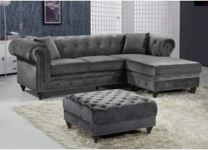 Sabrina Grey Velvet Reversible Sectional