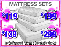 Queen and King Mattress Sets With Free Bed Frame