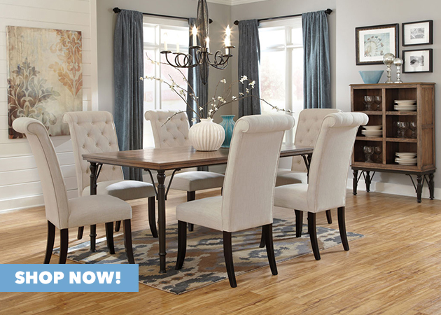 Tripton Rectangular Dining Table w/ 6 Side Chairs & Server